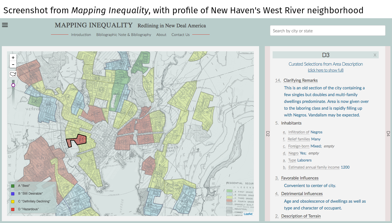 HOLC data mapping inequality screenshot University Richmond