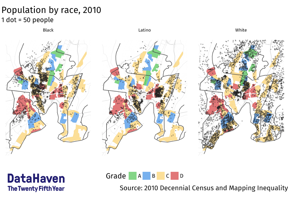 DataHaven map of race and HOLC data for Greater New Haven