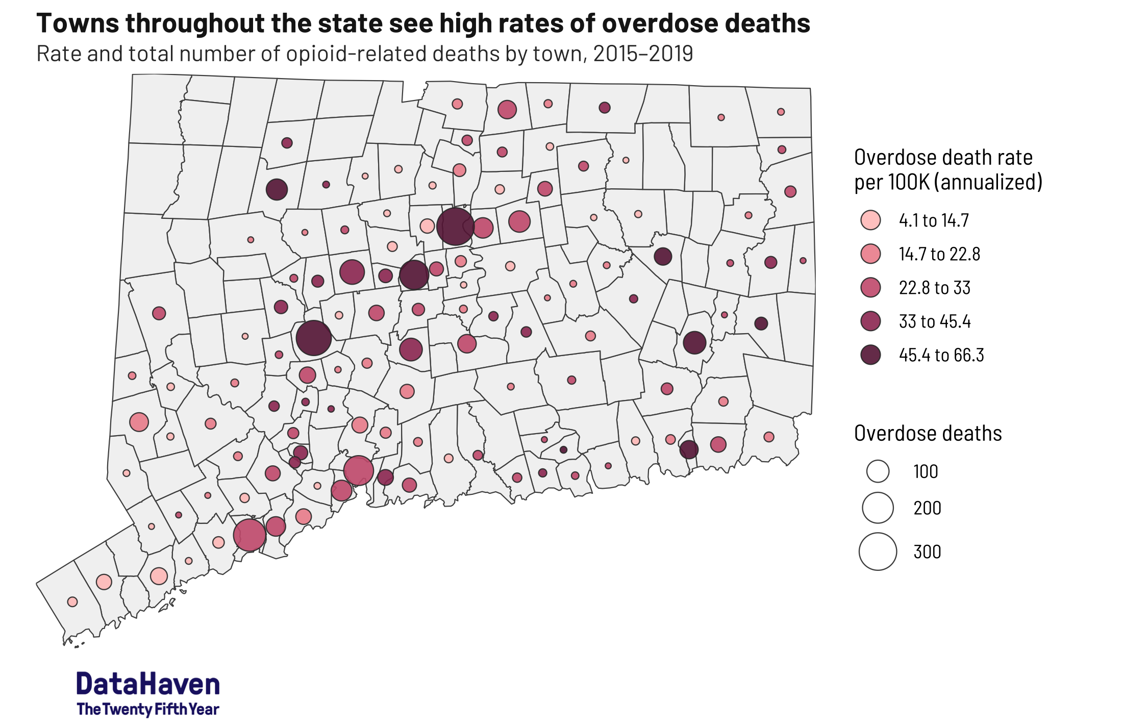 Connecticut opioid data by DataHaven map