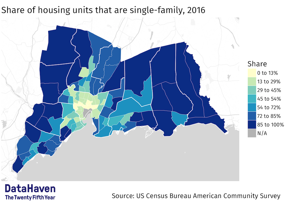 DataHaven Map: Share of housing units that are single family in CT