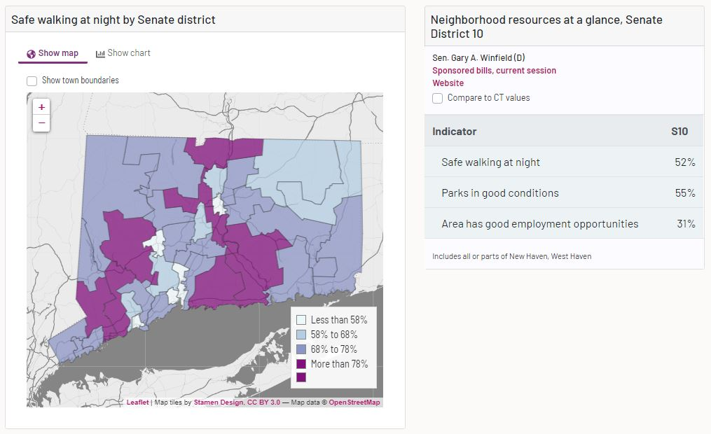 demographic and economic data for house and senate districts in connecticut towns and cities