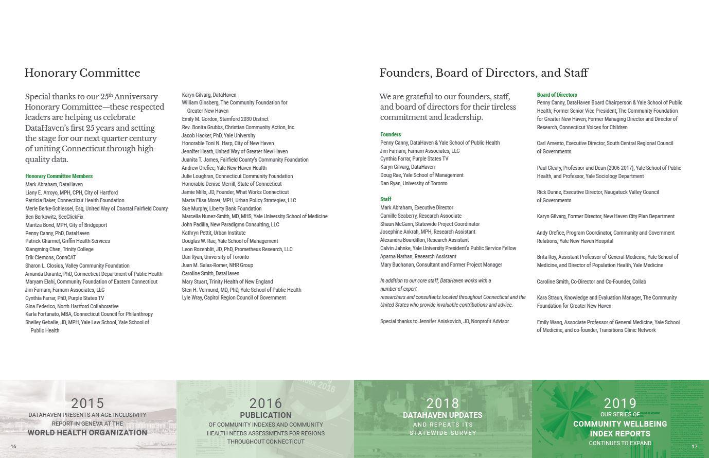 DataHaven 25th Anniversary honorary committee and board